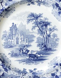 Nineteenth-Century English Transferware - The beautifully detailed example here, called Abbey Ruins, would have taken the copper engraver a month or more to create.