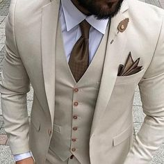 Beige Mens Suits 2019 Three Piece Jacket Pants Vest Custom Slim Fit Male Blazer Wedding Groom Tuxedos is part of Groom tuxedo Gender MenItem Type SuitsBrand Name FovivaStyle FormalFront Style FlatPa - Dress Suits For Men, Men's Suits, Suit Men, Beige Suits For Men, Groom Suits, Terno Slim, Wedding Men, Wedding Groom, Wedding Tuxedos
