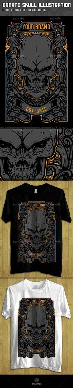 Ornate Skull Illustration Tshirt Design Template #design Download: http://graphicriver.net/item/ornate-skull-illustration-tshirt-design-template/11243069?ref=ksioks