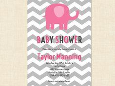 elephant baby shower invitation grey chevron pink printable baby girl via etsy