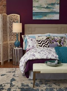 The deep purple wall is so luxurious