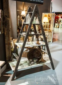 Shelves made from an old ladder by Anna Bananas