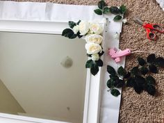 DIY Flower chalk painted mirror for our little girl's nursery!