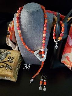 Necklace Rustic Rainbow Hematite Coppers Tassel Jewelry Set Earrings Bracelet