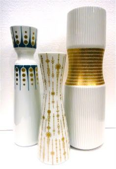 "A favorite category of collectible is Porcelain made in West Germany in the 60s . The patterns are great bits of gilded Op-Art. From Left to Right: AK Kaiser 10"", Rosenthal 8"", Thomas 11"""
