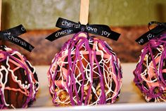 Holey Knees and Dragonflies: Purple Zebra Baby Shower and fancy caramel apples