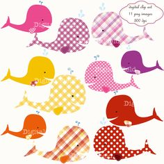 INSTANT DOWNLOAD Baby Girl Whale Clip Art Set by digitalfield