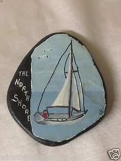 HORGAN-NORTH-SHORE-HAND-PAINTED-STONE-OR-ROCK-WITH-SAIL-BOAT-MAN-MINNESOTA-MN