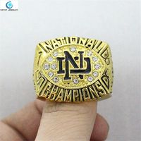 1988 Notre Dame Fighting Irish National Championship Ring Enamel Crystal Gold Pleated Ring Men Jewelry