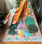 Hand Painted Sarees, Handloom Saree, Art Forms, Embroidery, Painting, Needlepoint, Painting Art, Paintings, Painted Canvas