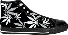 420 ganja leafs black sneakers, weed themed high tops, marihujana leafs pattern shoes - for more art and design be sure to visit www.casemiroarts.com, item printed by RageOn at www.rageon.com/a/users/casemiroarts - also available at www.casemiroarts.com - This product is hand made and made on-demand. Expect delivery (aproximate time frames) to US in 11-23 business days (international 14-33 business days). #shoes #clothing #style #fashion #sneakers #sportwear #sale #onsale
