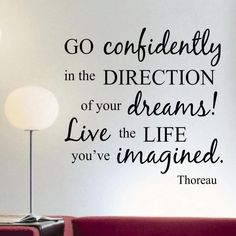 Vinyl Wall Lettering Words Quotes Go Confidently Thoreau 2 foot Decal
