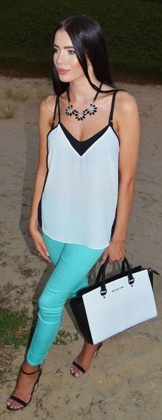 Green Mint Pants and Vest Blouse - Laura Badura Fa...