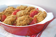Delicious Strawberry Cobbler, without all the unhealthy stuff...Gluten-free as well!