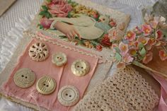 Sweet Pink & Cream Colors of Vintage Buttons, Rick Rack, Millinery Flowers, & Calling Card