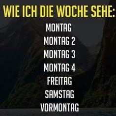 Wie ich die Woche sehe: Montag, Montag 2, Montag 3, Montag 4, Freitag, Samstag, Vormontag