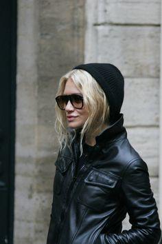 leather, sweatshirts, & sunglasses