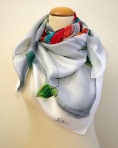 Zijden sjaal Hand geschilderd Hand Painted vierkante door gilbea