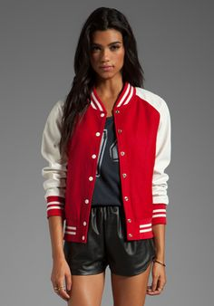 LOVERS + FRIENDS for REVOLVE Varsity Jacket in Red - Lovers + Friends Athletic