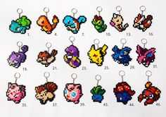 Pokemon Hama Perler beads keyrings: 151 original Pokemon