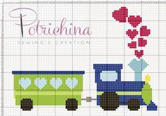 trenino, treno bimbi schema punto croce - cross Stitch - Kreuzstich - Punto de Cruz