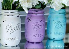 Mason Jars Painted Distressed-it