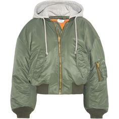 Vetements Shell hooded bomber jacket ($1,530) ❤ liked on Polyvore featuring outerwear, jackets, vetements, green military jacket, blouson jacket, green jacket, olive green jacket and army green jacket