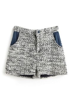 ROMWE   ROMWE Color Block Pocketed Woolen Shorts, The Latest Street Fashion