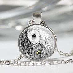 Yin Yang Owl Necklace or Owl Key Ring Owl by RiverwalkDesigns