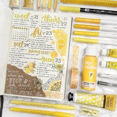 #happyplannerchallenge #bujochallenges #bulletjournaladdict #keepsake #yellowbujospread #yellowspread #yellowbulletjournal #theartofbujo #bulletjour