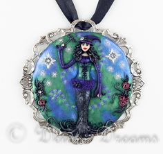 """- SOLD - $165.00 #gothwitch, #gothwitchpendant, #witch, #witchpendant, #halloweenwitch, #witchart, Goth Witch Pendant, Witch Pendant, Witch Art, Dark Fantasy Art, Original Wearable Art Jewelry, Fantasy Jewelry, Halloween Jewelry This beautiful goth witch pendant is called """"I Put A Spell On You"""""""