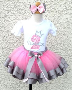 *Girls Light Pink N Silver Princess Quick Ship Satin Ribbon Tutu