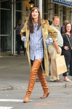 Karlie Kloss photoshoot in New York City cognac thigh boots