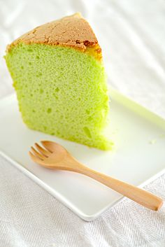 pandan chiffon cake...  mama lu has been making this nonstop for months now.  i thought it was pistachio.  -- toni