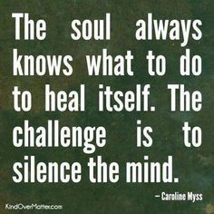 The soul always knows what to do to heal itself. The challenge is to silence the mind. - Caroline Myss