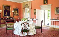 Dining Room Colors, Dining Rooms, Bedroom Colours, Wall Colors, Dining Table, English Country Decor, Country French, Country Chic, Georgian Homes