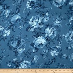 Michele's Rose 108 In. Wide Quilt Back Blue from @fabricdotcom  From Benartex, this 108'' extra-wide backing is perfect for quilt backings, duvets, tablecloths, pillows, dust ruffles, light curtains and more. Fabric features a floral pattern in a color palette of china blue.