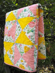 spring garden baby quilt vintage bed linens by lusciouslemon, $60.00