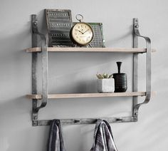 Rustic Pine Shelf with Hooks.  Wall shelf . Rustic decor . Pottery barn
