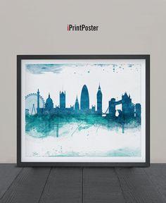London, Art Print, Watercolor, London watercolor, Art, City Illustration, City Wall art, Artwork, London poster, Home Decor, iPrintPoster.  Art