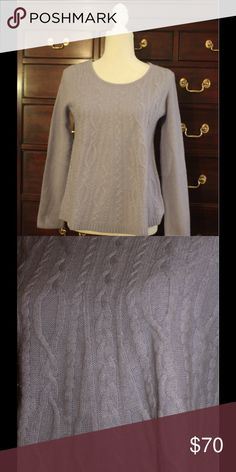 Luxury Lavender Cashmere Sweater High end cashmere sweater has cable pattern on body and basket weave pattern on sleeves. This is a fine cashmere, not the thin discount blends found in some stores. The lavender color is best represented in the second photo. Excellent condition. Sweaters Crew & Scoop Necks