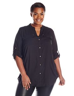 Calvin Klein Women's Plus-Size Modern Essential Crew Neck Roll Sleeve Top, Black, 2X. Collarless button-front shirt featuring button tabs at sleeves, side hems, and epaulettes. Chest flap pockets with rivets.
