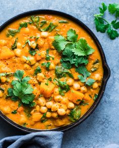 This Thai Butternut Squash Chickpea Curry is packed with aromatic Thai flavors and is indulgent yet healthy. It's also weeknight friendly and takes, from start to finish, just 45 minutes to make. Plus, it's meal prep friendly and makes great leftovers! Veggie Recipes, Indian Food Recipes, Whole Food Recipes, Vegetarian Recipes, Cooking Recipes, Healthy Recipes, Vegetarian Thai Curry, Thai Vegan, Thai Vegetable Curry