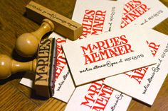 wood stamped business cards