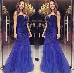 Blue Delicate Sweetheart Beading Mermaid Tulle Prom Dresses 2017