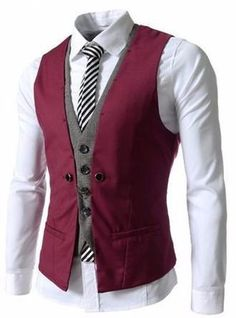 2017 Latest Coat Pant Designs Burgundy Grey Men Waistcoat Fashion Vest Custom Groom Prom Dinner Vests for Suits Terno Masculino Mode Cool, Men's Waistcoat, Mens Suit Vest, Dress Suits, Dress Vest, Sleeveless Jacket, Menswear, Skinny, Clothes