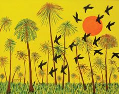 "Janice Kennedy Black Birds Landing: Tampa, FL, 2010 acrylic on paper 15 x 20"" Galerie Bonheur, St.  Louis MO"