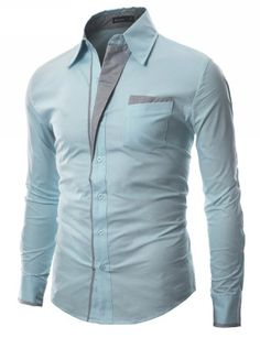Mens Patch Point SLIM dress shirts SKY 2XL (DS41) - DOUBLJU Brand in Korea is a Brand designed by slim fit style FOR men and women in highest qualities and workmanship to bring buyers A different outlook on life of fashion, And mostly styles are Kor