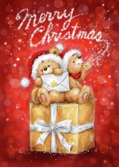 Animals Mixed Media - 72369 Two Bear On Present by Makiko Merry Christmas Wishes, Christmas Quotes, Christmas Pictures, Christmas Greetings, Kids Christmas, Christmas Presents, Christmas Crafts, Christmas Decorations, Merry Christmas Wallpaper