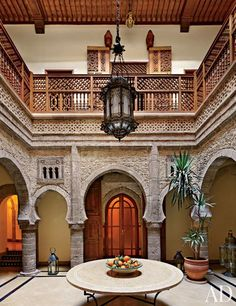 A sublime open Moroccan courtyard featured in AD Luxury Magazine.